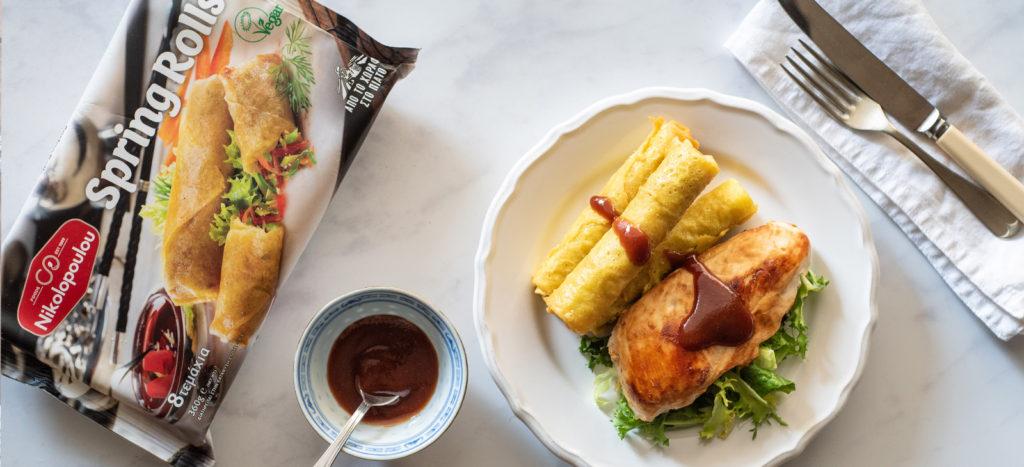 συνταγή: Κοτόπουλο Φιλέτο με Spring Rolls και Γλυκόξινη Σάλτσα