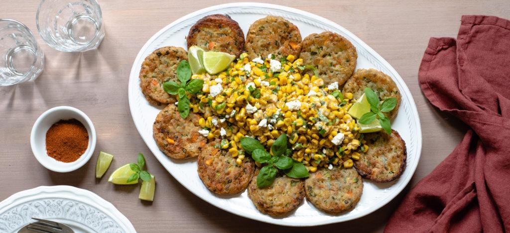 συνταγή: Κολοκυθοκεφτέδες με Μεξικάνικη Σαλάτα Καλαμποκιού Esquites